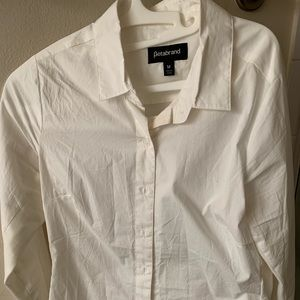 Betabrand collared white blouse size medium